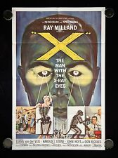 X THE MAN WITH X RAY EYES ORIGINAL 1963 ONE SHEET MOVIE POSTER VERY FINE