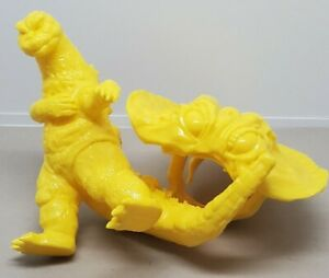 Rare Y-MSF yellow Flying Hedorah 6 inch scale figure with captured Godzilla