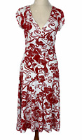 Jacqui E Womens Red Floral Short Sleeve Dress Size S