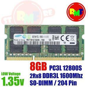 MEMORIA RAM SAMSUNG 8GB DDR3L 1X8GB 2RX8 PC3L 12800S 1600MHZ 1.35V SODIMM 204 PI