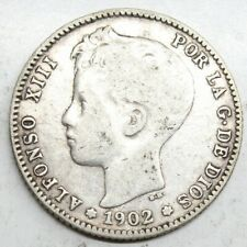 ESPAÑA ALFONSO XIII 1902 SMV 1 PESETA MONEDA PLATA MBC