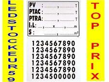 Plaque de tare adhésive 145 x 125 mm grand modele    !! TOP PRIX !!