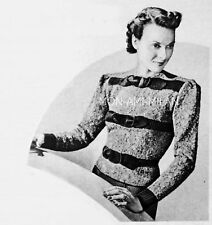 4bd8b257e Vintage 30s Knitting Pattern To Make LADYS JUMPER SWEATER with RIBBED BAND  TRIM