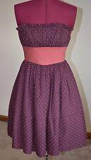 Betsey Johnson Strapless Dress Crinoline Size 2 Purple/Dusty Pink Bow Polka Dot