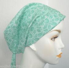 Green Floral 100% Cotton Cancer Chemo Alopecia Hair Scarf Turban Hat Headwrap