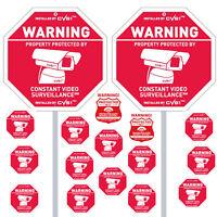2 Security Camera Yard Signs Posts & 2 Alarm & 13 CCTV Decals