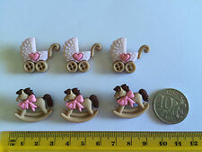 Baby pink carriage & rocking horse Novelty Dress It Up Buttons  5824