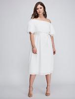 Lane Bryant Off The Shoulder Crepe Dress Plus 16 18 24 28 White 1x 2x 3x 4x