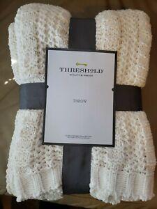 "Threshold Striped Chenille Knit Throw Blanket - 50"" x 60"" - Brand New"