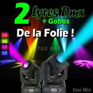 JEUX DE LUMIERE PACK DE 2 LYRES GOBOS DMX A PRIX FOU PA DJ SONO LED BAR CLUB