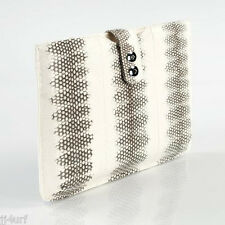 LuxuriousTablet Sleeve Made from Genuine White Sea Snake Leather, Strap, Croton