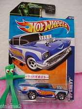 Case J 2011 i Hot Wheels '57 CHEVY #160☆Racing BLUE☆1957 CHEVROLET☆Green Lantern