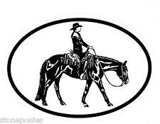 Equine Discipline Oval Vinyl Car Decal Black & White Sticker - Western Pleasure