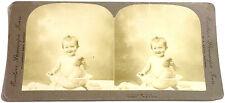 STEREOFOTO STEREOFOTOGRAFIA 1890 ca. BAMBINO CHE FA IL BAGNO - BY M. E. WRIGHT