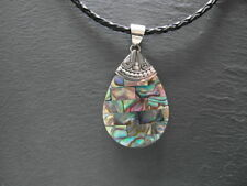 "Balinese Sterling Silver and Paua/Abalone shell ""Brickwork"" pendant with cord"