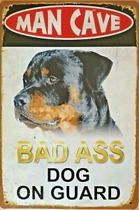 MAN CAVE DOG ON GUARD Rustic Metal Tin Sign. Vintage Garage,  Bar & Man Cave