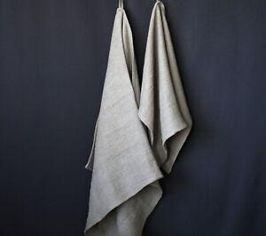 """100% Linen Bath Towel - Soft Gray/Beige Waffle Linen Bath Sheet - 35x60"""",39x70"""""""