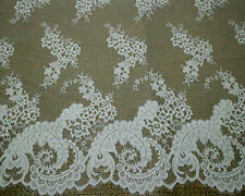 3Meters White French Chantilly Eyelash Double Edge Lace Fabric ~ Wedding Dress N