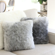 ICELANDIC SHORN SHORT FLEECE WOOL SHEEPSKIN CUSHION PILLOW LIGHT GREY 40cm 16""