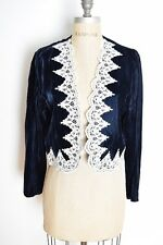 vintage 80s top navy blue velvet crochet bolero jacket shrug cardigan jumper M