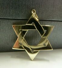 Large 9ct Solid Gold Plain & Patterned Star Of David Pendant 2.5 grams