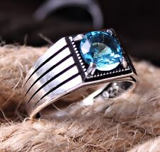 Aquamarine Stone Turkish Jewelry 925 Sterling Silver Mens Mans Ring US ALL SİZE