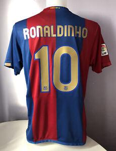 Barcelona Home Football Shirt Jersey 2006/2007 RONALDINHO 10 Large L Adults Nike