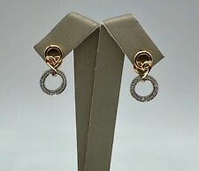 New 14k Multi-tone Gold Dangle Earrings Genuine Diamond