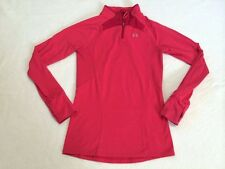 Under Armour Womens S Pink Coldgear Quarter Zip Shirt Jacket Media Pocket