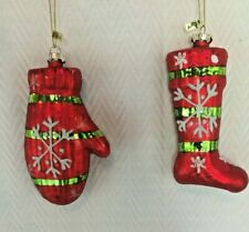 2 Piece Christmas Tree Glass Ornaments Stocking Mitten Red Green White