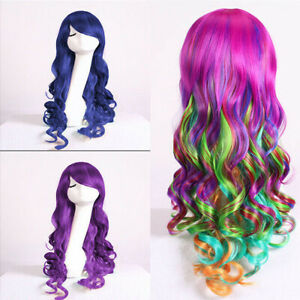 Women Rainbow Wigs Curly Wavy Full Wig Long Hair Hair Party Cosplay Costume
