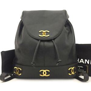 CHANEL Triple Coco Logo Caviar Skin Backpack Black /70922