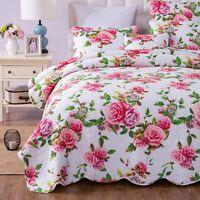 DaDa Bedding Romantic Roses Valentine Scalloped Bedspread Set Spring Pink Floral