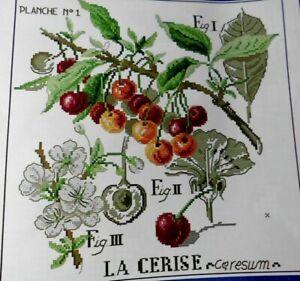 komplette Stickpackung,Point de Croix,Veronique Enginger,Kirschen,Blüten,Aida