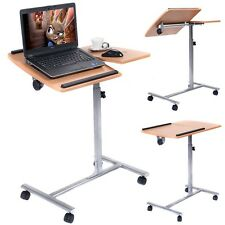 Laptop OverBed Table Adjustable Rolling Portable Mobile Hospital Tray Stand Cart