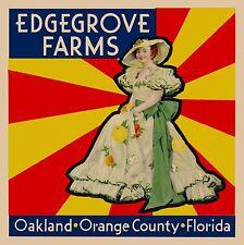 Oakland Florida Edgegrove Farms Brand Orange Citrus Fruit Crate Label Print