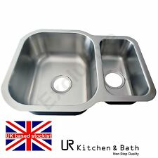 SINK KITCHEN STAINLESS STEEL DOUBLE BOWL UNDER MOUNT URS822KB