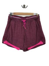Women's medium Pink Red Running Shorts Lined Athletic Gym Exercise