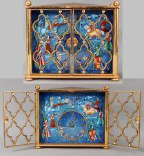 Rare Large Antique IMHOF, 7 Treasures, Cloisonne Enamel Gilt Bronze Clock, NR