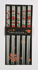 10 Chopsticks Steel Red Rose Flowers Design Beautiful Prints Gift Set