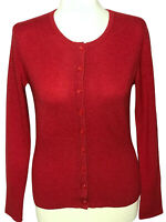 Apt 9 small sweater 100% cashmere button front cardigan red crew neck