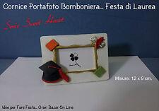 LAUREA PORTAFOTO BOMBONIERA 12 Pz. mis. 12 x 9 cm. STOCK GADGETS AUGURALI