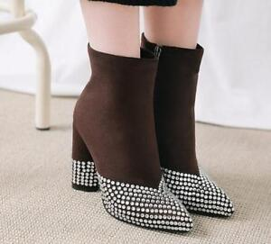 Womens Pointed Toe Block High Heel Rhinestones Side Zip Suede Casual Ankle Boots