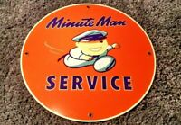 VINTAGE UNION 76 MINUTE MAN SERVICE W/ SPEEDY PORCELAIN GASOLINE & OIL AD SIGN