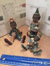 Sarah's Attic Three Figures Black Boys & Girl Wearing Clown Outfits Limited