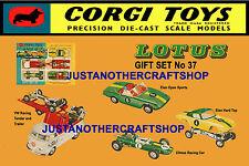 Corgi Toys GS 37 Lotus Elan Racing Team A3 tamaño póster prospecto anuncio Letrero de tienda