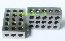 "2pc Mill machine vise parallel block steel HRC55-62 25-50-75mm 23 holes ±0.0002"""
