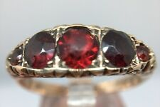 Antique Victorian Stunning 9ct Yellow Gold 5 Five Stone Garnet Ring