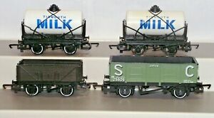Hornby Thomas Wagons x4 Tidmouth Milk Tanker Troublesome Truck Used Unboxed