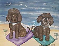 5x7 Pop Art Print Irish Water Spaniel on the Beach by Kimberly Helgeson Sams Dog